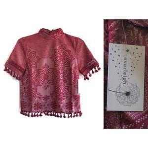 Everleigh Boho Pom Fringe Lace Short Sleeve Top S